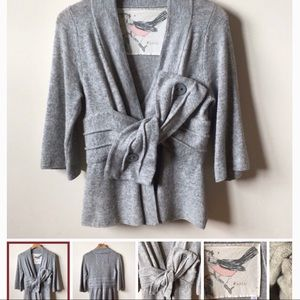 Gray wrap sweater by Anthropologie